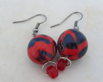 Earrings round blue red pattern