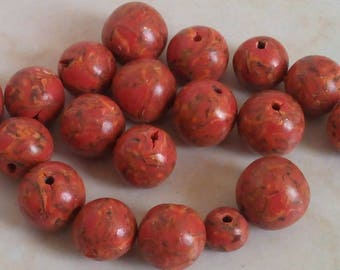 Set of beads to put on ribbed Orange hues
