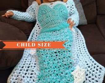 Princess Dress Blanket Crochet Pattern, Princess Blanket, Elsa Crochet Dress Blanket, Girl Dress Blanket, Frozen Birthday Dress, Child Size