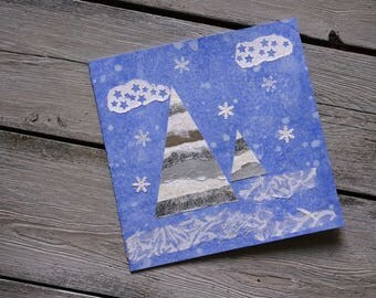 "Double square greeting card ""Snowy trees under studed clouds"""