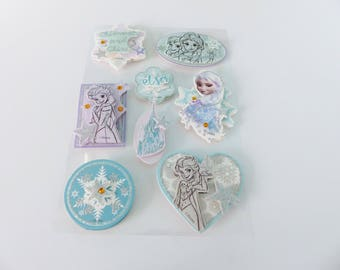 gorgeous 8 stickers of the snow Queen elsa Disney 3D embossed card stock with Rhinestones
