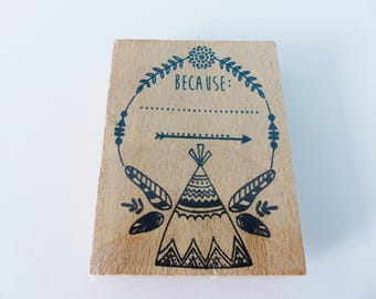 large 6 x 8 cm wooden stamp Indian tipi because arrow