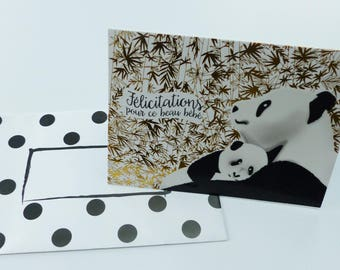gilt with panda baby greeting card