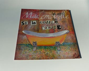 card Mademoiselle's taking sweet old bath