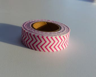 3.50 meters of masking tape ruban sticker zig zage red and white cotton