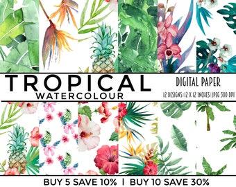 digital paper, digital papers, collage sheet, scrapbooking, scrapbook, paper, printable, pack, tropical, leaves, watercolor, floral, waterco