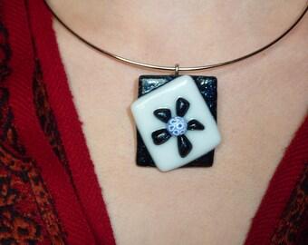 """Necklace """"Black Jack"""" fused glass, unique creation"""