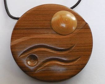 """""""sunset"""", carved necklace of rosewood and boxwood"""