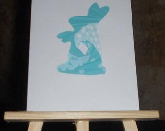 "Blue Rabbit in iris folding ""Congratulations"" card"