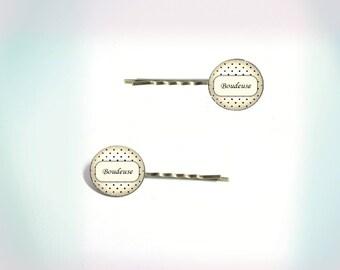 2 hair clips - vintage - cabochon 'Bird'