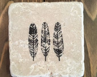 Rustic Natural Stone Feather Coaster Set