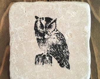 Rustic Natural Stone Owl Coaster Set