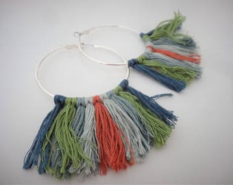 Large colorful fringe hoop earrings