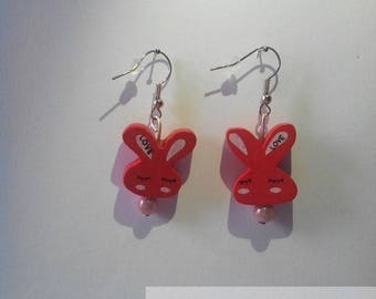 Pearl Earrings wooden rabbits