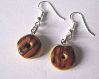 Caramel and chocolate donuts in polymer clay earrings