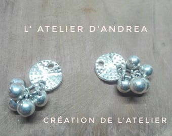 """Connectors/pendants/charms artisanal creation of the Studio of Andrea """"geometric"""" / Silver/silver"""