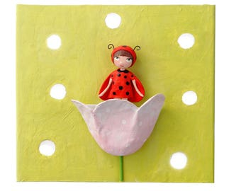 Applique wall Ladybug and flower fairy