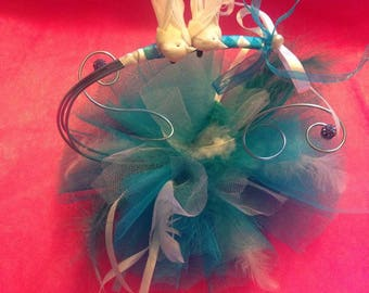 Turquoise and white hand made wedding ring pillow