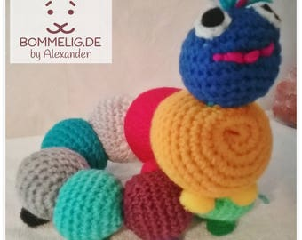 To make Bert the colorful Caterpillar in loving hands, approx. 45 cm / Amigurumi / stuffed animal, crochet figure / crochet / crochet