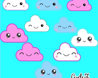 Files digital clip art kawaii - Kawaii cloud cloud