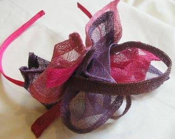 Pink and purple sinamay headband