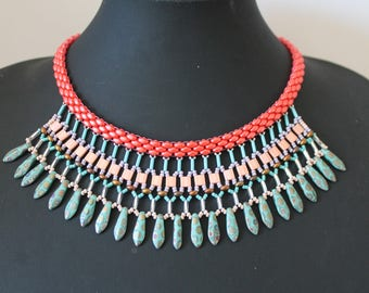 Bib necklace with beadwoven shades coral, Turquoise and silver plated silver