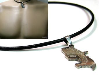 Leather and stainless steel N2620 MARRTINIQUE man necklace