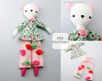 Fashion Bear Pattern, Plush Bear Pattern, Sewing Pattern, Felt Pattern, Doll Sewing, Doll Sewing Pattern, Bear Clothing pdf, Bear Doll PDF
