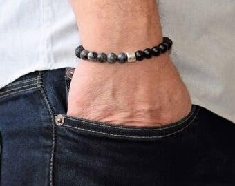 Men Beaded Bracelets, Mens Bracelet, Men's Energy Bracelet, Bracelet Men, Black Onyx  Bracelet, Moonstone Bracelet, Men Bracelet Gift