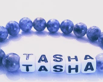 Personalized beaded bracelet.