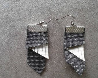 Faux leather carbon and ivory swarovski earrings