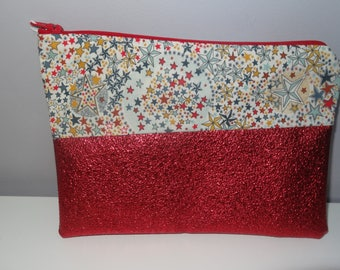 Clutch faux red leather and liberty