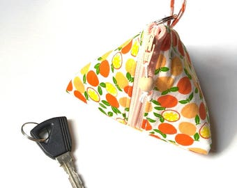 Coin purse and Triangular orange keychain