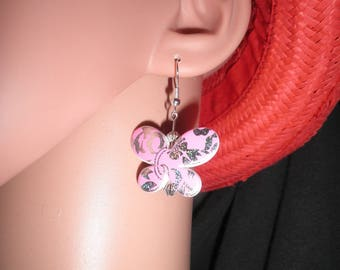 00722 - Pink mosaic Butterfly Silver earrings.