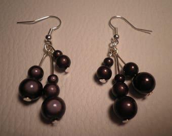 01609 - Earrings beads black magic