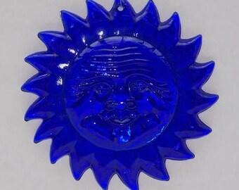 Cobalt blue glass sun catcher