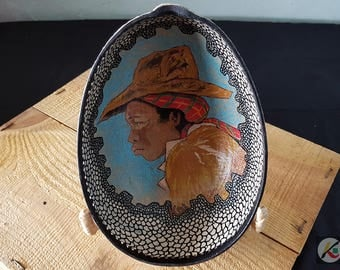 Painted and carved gourd