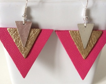 Fuchsia leather and gold earrings