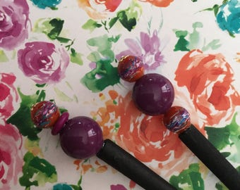 Burnt Orange Rust Plum Purple Hair Stick