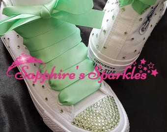 Wedding Green Bride Converse Bling Crystal White Mint Green Customised White Mono High Tops