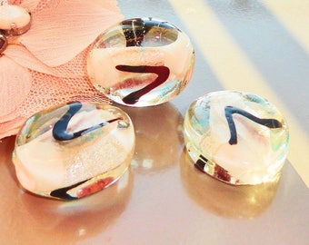 3 oval glass beads lampwork clear 30 mm x 10mm
