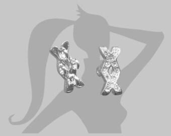Séparateur Intercalaire croix entrelaçée strass 17mm 4 trous métal argenté et cristal