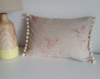 Handmade pink faded roses cushion cover with pom pom trim