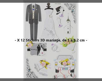 X 12 Stickers 3D Theme wedding 1 8.2 cm - new