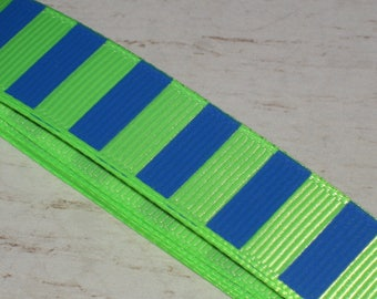 1 meter Ribbon grosgrain stripe blue and neon green