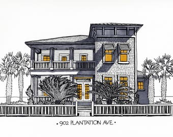 Custom Illustrated House Portraits