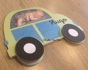 Car shaped birth announcements