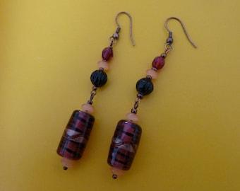Lobe earrings. Ripe red berries.