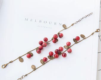 Cherry Garnet Stone bead bracelet