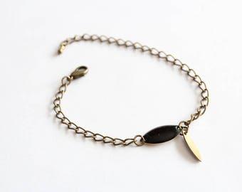 Bronze chain and black Sequin shuttle bracelet